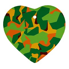 Initial Camouflage Green Orange Yellow Heart Ornament (two Sides) by Mariart