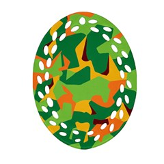 Initial Camouflage Green Orange Yellow Oval Filigree Ornament (two Sides) by Mariart