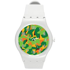 Initial Camouflage Green Orange Yellow Round Plastic Sport Watch (m) by Mariart