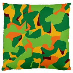 Initial Camouflage Green Orange Yellow Large Cushion Case (two Sides) by Mariart