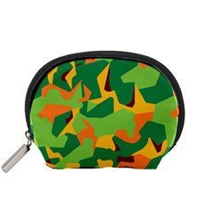 Initial Camouflage Green Orange Yellow Accessory Pouches (small)  by Mariart
