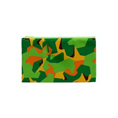 Initial Camouflage Green Orange Yellow Cosmetic Bag (xs) by Mariart