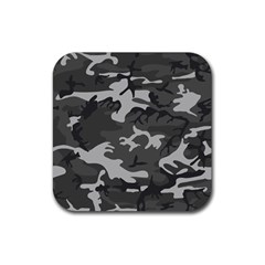 Initial Camouflage Grey Rubber Square Coaster (4 Pack)  by Mariart