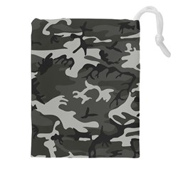 Initial Camouflage Grey Drawstring Pouches (xxl) by Mariart