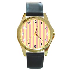 Pink Yellow Stripes Line Round Gold Metal Watch by Mariart