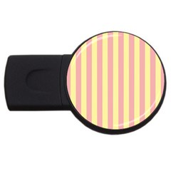 Pink Yellow Stripes Line Usb Flash Drive Round (4 Gb) by Mariart