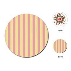 Pink Yellow Stripes Line Playing Cards (round)