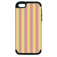Pink Yellow Stripes Line Apple Iphone 5 Hardshell Case (pc+silicone) by Mariart