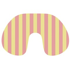 Pink Yellow Stripes Line Travel Neck Pillows by Mariart