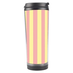 Pink Yellow Stripes Line Travel Tumbler by Mariart