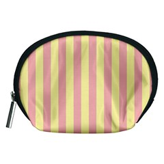 Pink Yellow Stripes Line Accessory Pouches (medium)  by Mariart