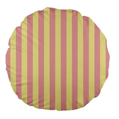 Pink Yellow Stripes Line Large 18  Premium Flano Round Cushions by Mariart