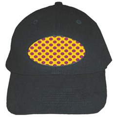 Polka Dot Purple Yellow Black Cap by Mariart