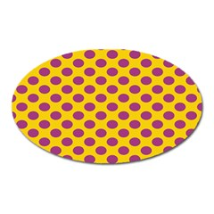 Polka Dot Purple Yellow Oval Magnet by Mariart