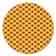 Polka Dot Purple Yellow Magnet 5  (round) by Mariart