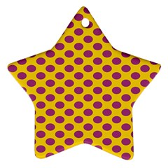 Polka Dot Purple Yellow Star Ornament (two Sides) by Mariart