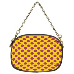 Polka Dot Purple Yellow Chain Purses (two Sides)  by Mariart