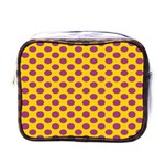 Polka Dot Purple Yellow Mini Toiletries Bags Front