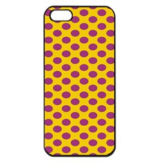Polka Dot Purple Yellow Apple Iphone 5 Seamless Case (black) by Mariart