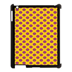 Polka Dot Purple Yellow Apple Ipad 3/4 Case (black) by Mariart