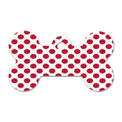 Polka Dot Red White Dog Tag Bone (two Sides) by Mariart