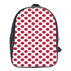 Polka Dot Red White School Bags(large)  by Mariart