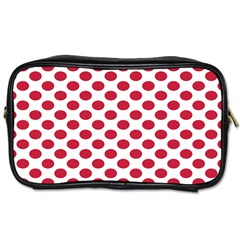 Polka Dot Red White Toiletries Bags by Mariart