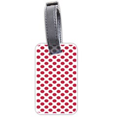 Polka Dot Red White Luggage Tags (two Sides) by Mariart
