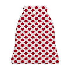Polka Dot Red White Ornament (bell) by Mariart