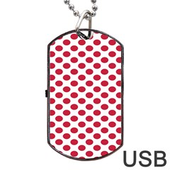 Polka Dot Red White Dog Tag Usb Flash (two Sides) by Mariart