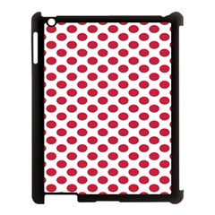 Polka Dot Red White Apple Ipad 3/4 Case (black) by Mariart