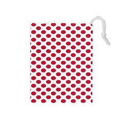 Polka Dot Red White Drawstring Pouches (medium)  by Mariart