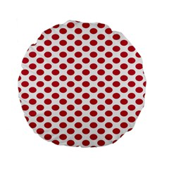 Polka Dot Red White Standard 15  Premium Flano Round Cushions by Mariart