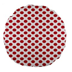 Polka Dot Red White Large 18  Premium Flano Round Cushions by Mariart