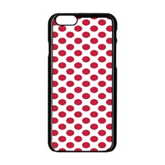 Polka Dot Red White Apple Iphone 6/6s Black Enamel Case by Mariart
