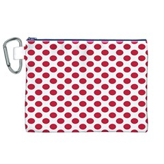 Polka Dot Red White Canvas Cosmetic Bag (xl) by Mariart