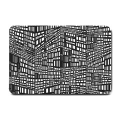 Plaid Black White Small Doormat  by Mariart