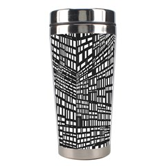 Plaid Black White Stainless Steel Travel Tumblers by Mariart