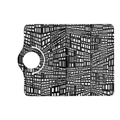 Plaid Black White Kindle Fire Hd (2013) Flip 360 Case by Mariart