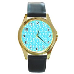 Record Blue Dj Music Note Club Round Gold Metal Watch by Mariart