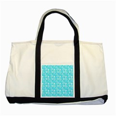 Record Blue Dj Music Note Club Two Tone Tote Bag by Mariart
