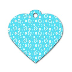 Record Blue Dj Music Note Club Dog Tag Heart (one Side) by Mariart