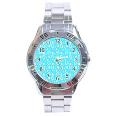 Record Blue Dj Music Note Club Stainless Steel Analogue Watch by Mariart