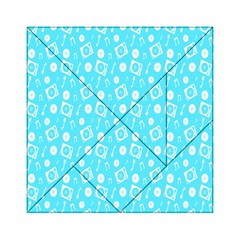 Record Blue Dj Music Note Club Acrylic Tangram Puzzle (6  X 6 ) by Mariart