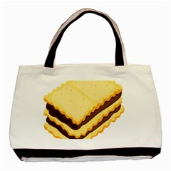 Sandwich Biscuit Chocolate Bread Basic Tote Bag by Mariart