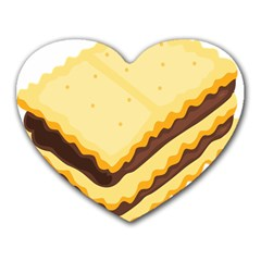 Sandwich Biscuit Chocolate Bread Heart Mousepads by Mariart