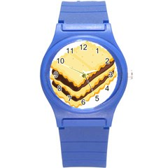 Sandwich Biscuit Chocolate Bread Round Plastic Sport Watch (s) by Mariart