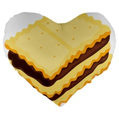 Sandwich Biscuit Chocolate Bread Large 19  Premium Flano Heart Shape Cushions by Mariart
