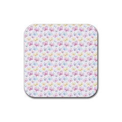 Pretty Colorful Butterflies Rubber Square Coaster (4 Pack)