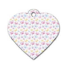 Pretty Colorful Butterflies Dog Tag Heart (one Side) by tarastyle